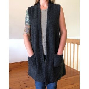 TAHARI Long Open Sweater Vest Cardigan